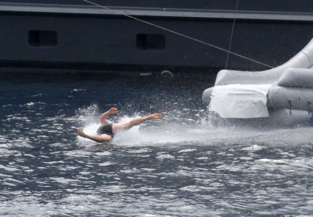 Chris Hemsworth landing in the water.