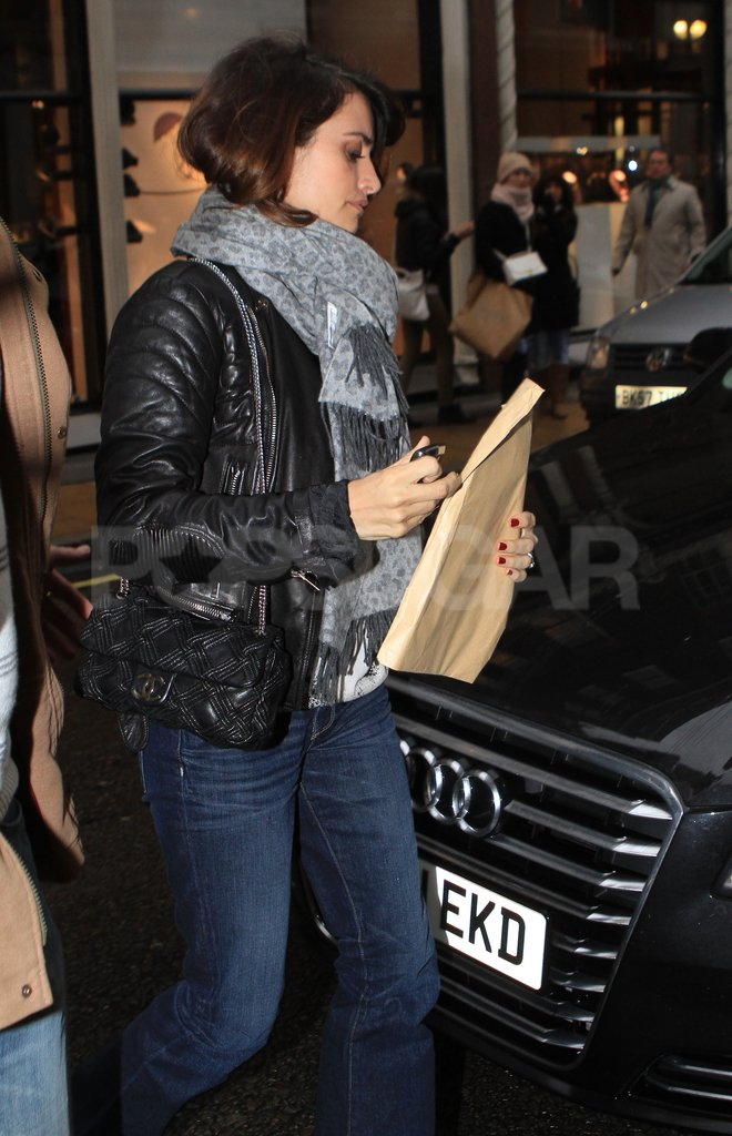 Penelope Cruz rocked a leather jacket in London.