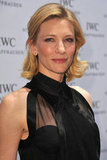 Cate Blanchett showed off the sheer neckline of her black dress.