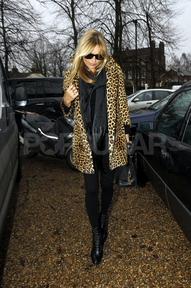 Kate Moss showed up at the site of her new home in London.