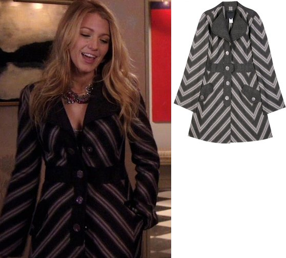 Serena, coat, Marc Jacob, episode 12, hollywood fashion, chevron striped coat