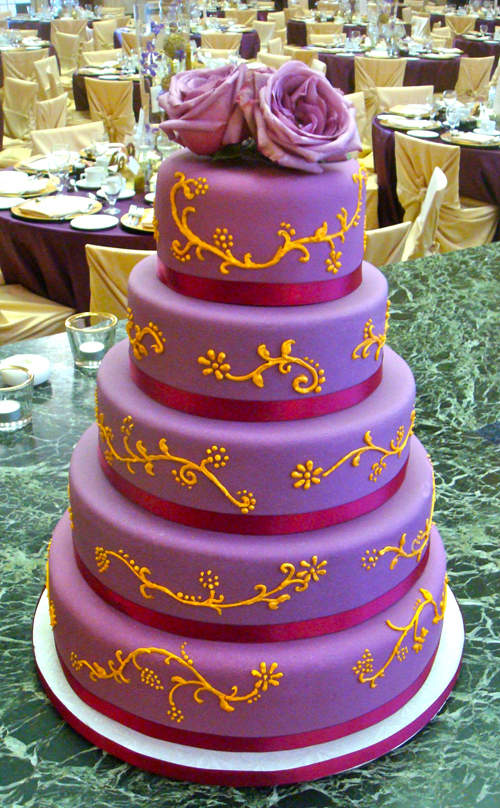 Delicious Purple And Gold Wedding Cakes