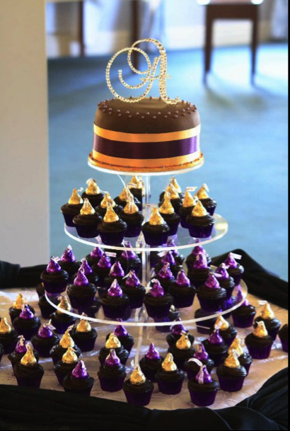 Chocolate Purple And Gold Wedding Cakes