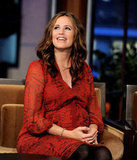 Jennifer Garner wore red to The Tonight Show.