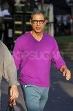 Jeff Goldblum was in a purple sweater for Glee.