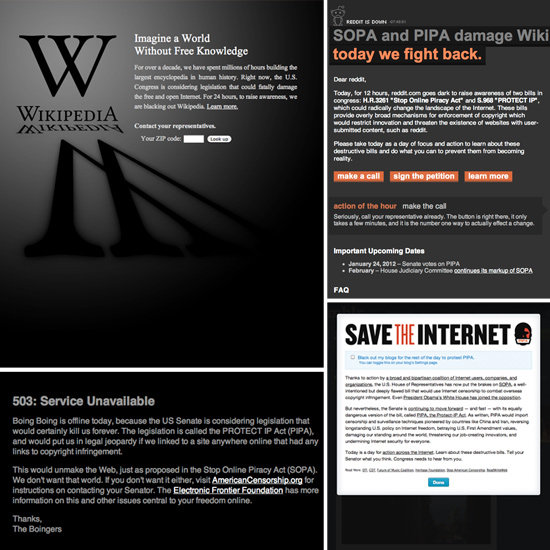 Internet Blackout in Protest of SOPA