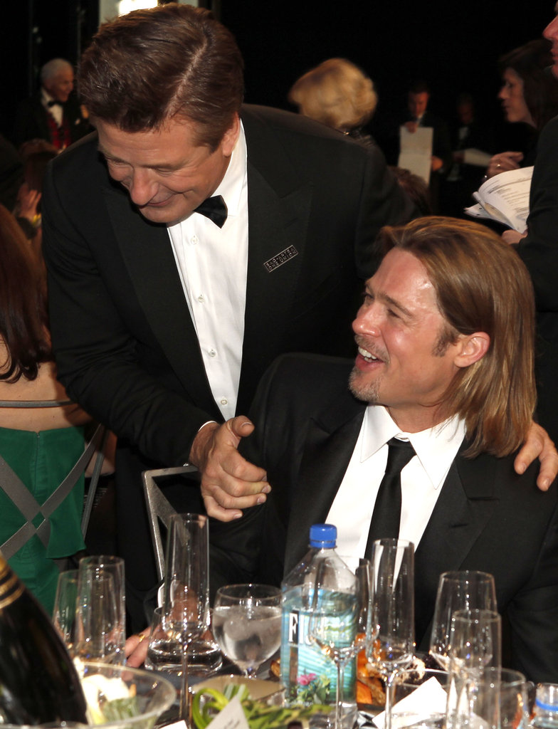 Brad Pitt and Alec Baldwin hung out during a break.