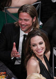 Brad Pitt and Angelina Jolie laughed during the show.
