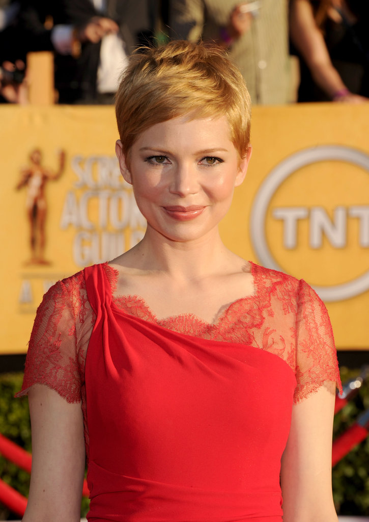 Michelle Williams in a one-shouldered gown.