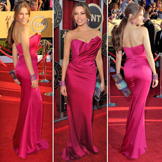 Modern Family Bombshell Sofia Vergara Show Off Her Sexy Curves in Marchesa at the 2012 SAG Awards