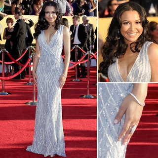 Glee Star Naya Rivera Looks Super Sexy in Sequinned in Naeem Khan Gown at the 2012 SAG Awards
