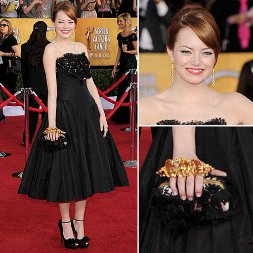 Emma Stone Wears Alexander McQueen Black Prom Dress on the Red Carpet at the 2012 SAG Awards