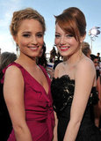 Dianna Agron and Emma Stone arrive.