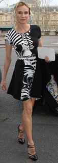 Diane Kruger in Black and White Dress at Paris Fashion Week