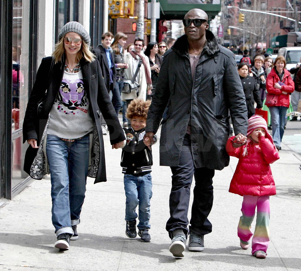 Heidi, Seal, Leni, and Henry bundled up in NYC in April 2009.
