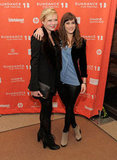 Lizzy Caplan and Kirsten Dunst arrived at the 2012 Sundance Film Festival premiere of Bachelorette.