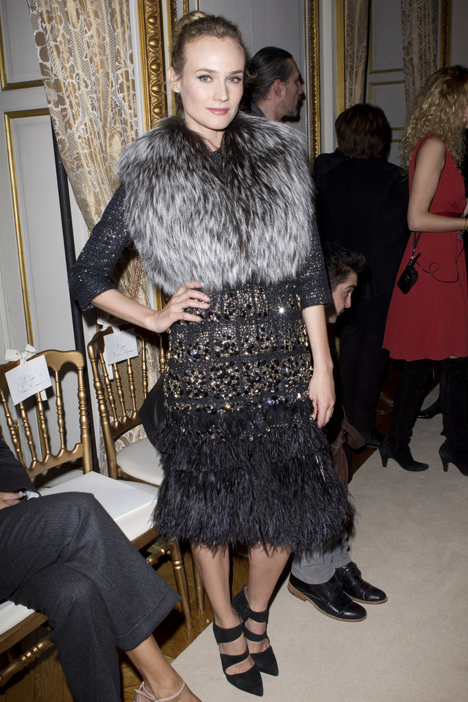 Diane Kruger wearing fur at Paris Fashion Week.