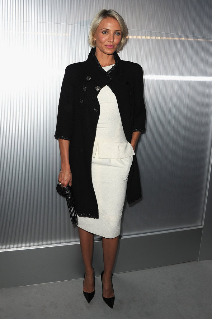 Cameron Diaz wore black and white in Paris.