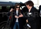Anne Hathaway carried a black bag at LAX.