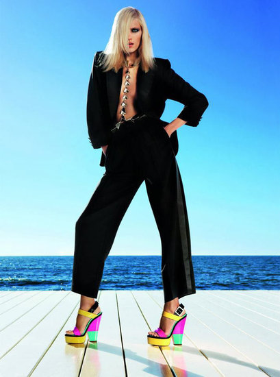 We love these neon colorblocked heels that Anja Rubik models for the Giuseppe Zanotti Spring '12 campaign. Source: Fashion Gone Rogue