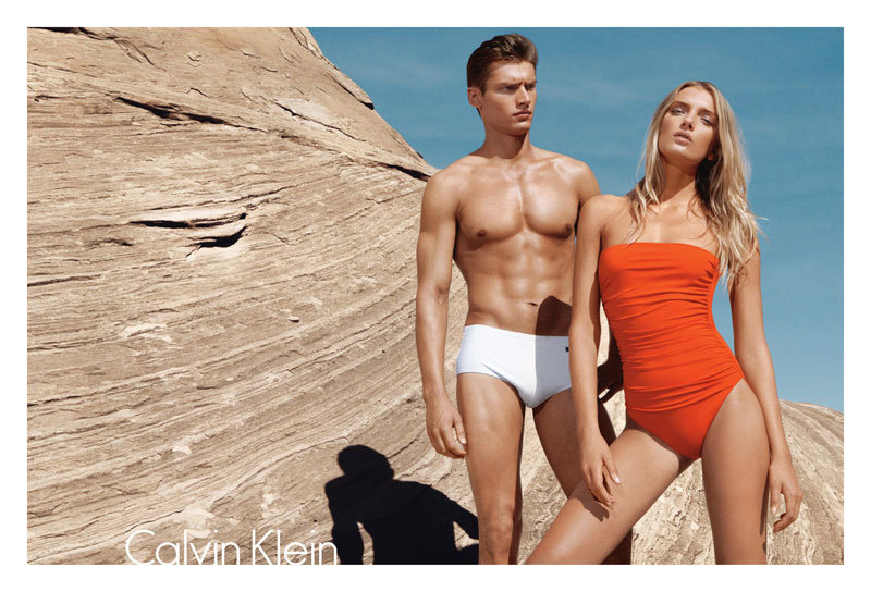 Lily Donaldson dons a retro swimsuit in the newest Calvin Klein Swimwear ad. Source: Fashion Gone Rogue