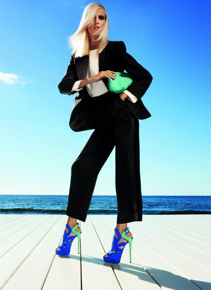 Anja Rubik wears two-toned blue and green Giuseppe Zanotti Spring '12 heels. Source: Fashion Gone Rogue