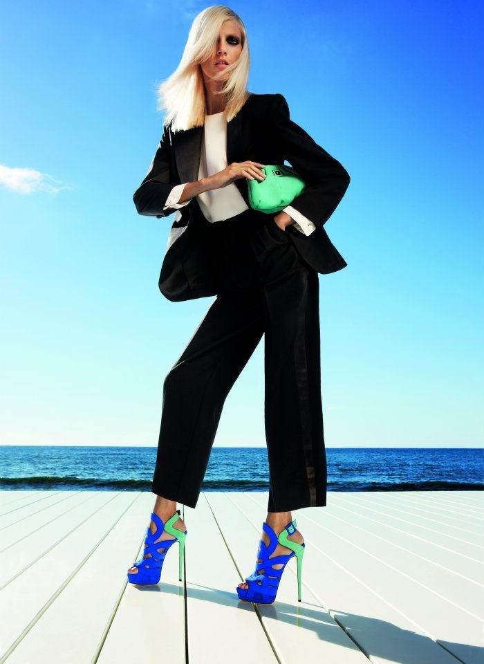 Anja Rubik wears two-toned blue and green Giuseppe Zanotti Spring '12 heels. Source: Fashion Gone Rogue