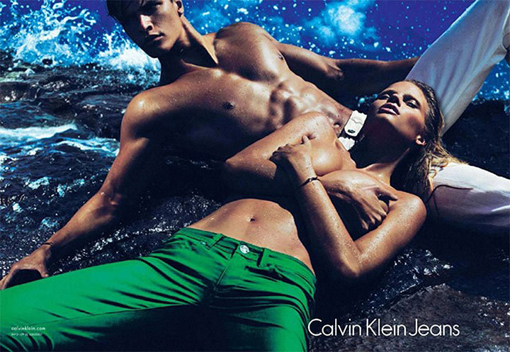 Bright green jeans and nothing else — Calvin Klein Jeans Spring '12 ads get right to the point. Source: Fashion Gone Rogue