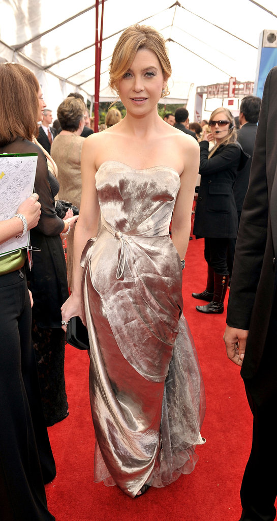 Grey's Anatomy star Ellen Pompeo wore a sculpted strapless silver dress from designer Nina Ricci with Christian Louboutin peep-toe pumps at the 2008 SAG Awards.
