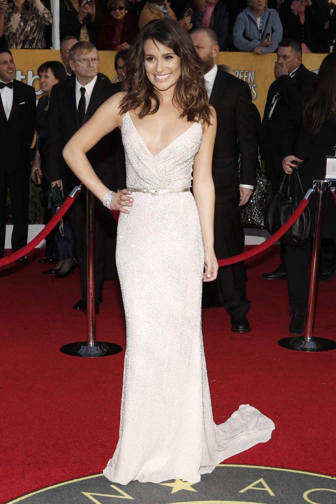Lea Michele looked gorgeous on the 2011 red carpet in an embellished Oscar de la Renta gown and Sergio Rossi heels.