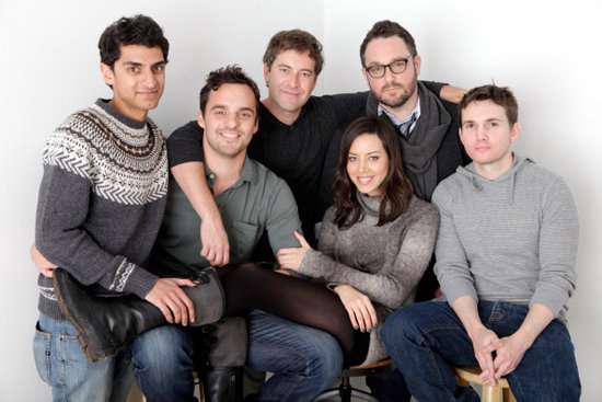 Karan Soni, Jake Johnson, Mark Duplass, Aubrey Plaza, Colin Trevorrow, and Derek Connolly paused for a happy photo op while promoting their film Safety Not Guaranteed.