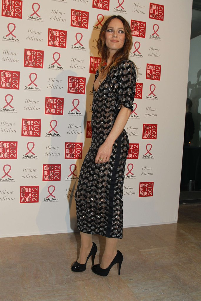 Vanessa Paradis showed off her Chanel gown at the Sidaction gala.