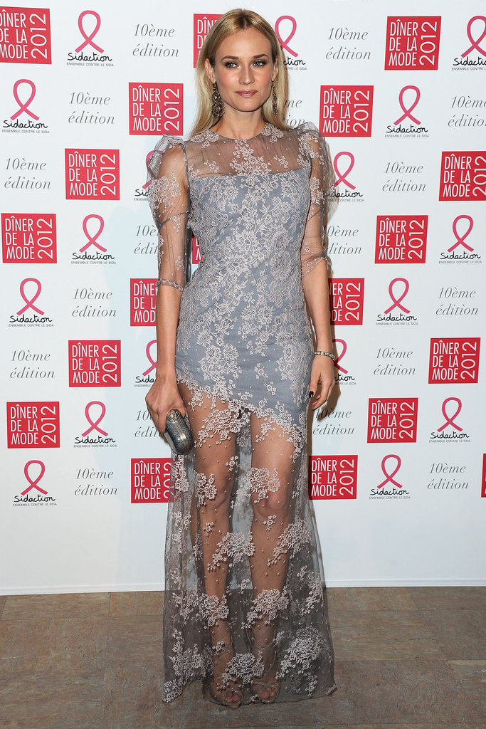 Diane Kruger wore a long, lacy Erdem.