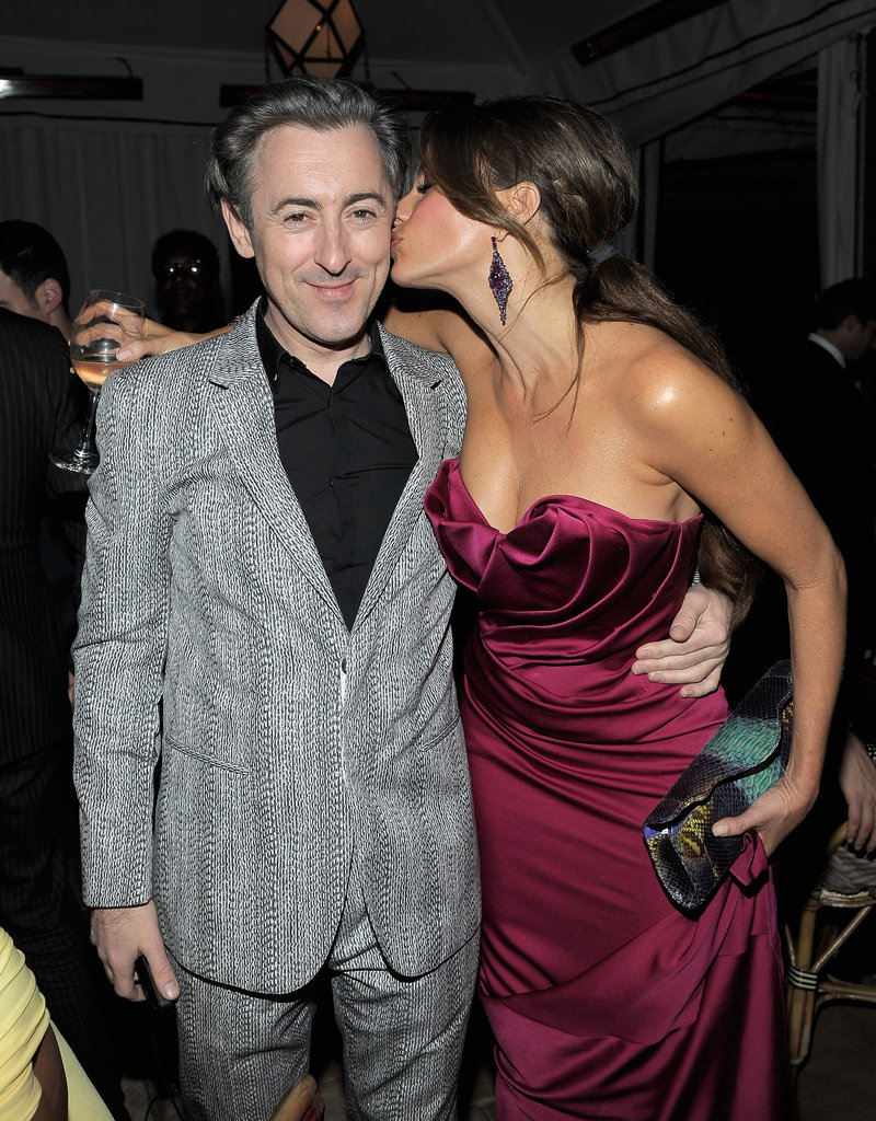 Sofia Vergara planted a kiss on Alan Cumming at the Weinstein Company's Screen Actors Guild Awards after party.