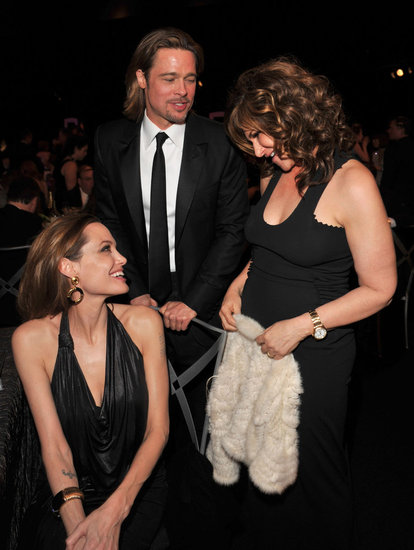 Angelina shared a few words with Sony exec Amy Pascal.