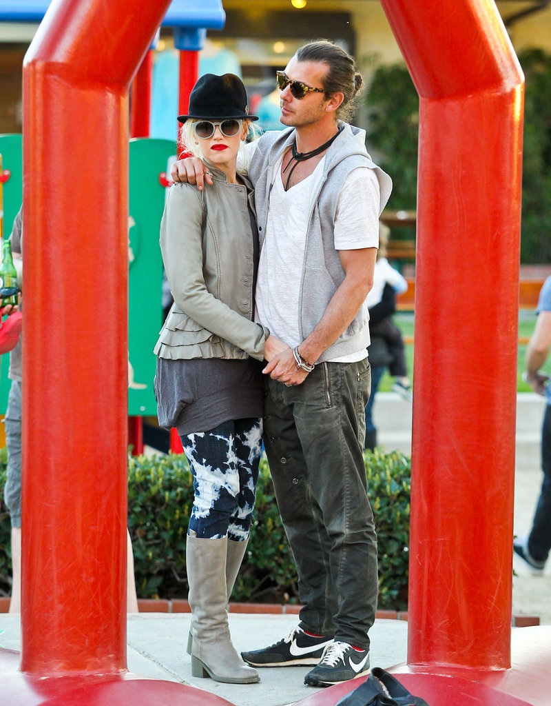 Gavin Rossdale put his arm around Gwen Stefani while hanging with their kids at a playground in LA in January 2012.