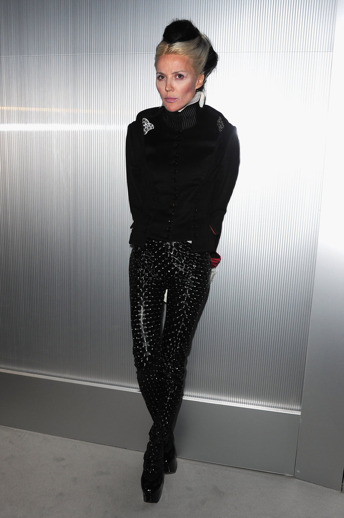 Daphne Guinness dressed up her all-black getup with embellished liquid leather pants at the Chanel Couture show in Paris.