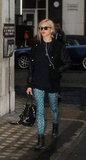 Fearne Cotton made an exotic statement with her leopard-infused turquoise pants.
