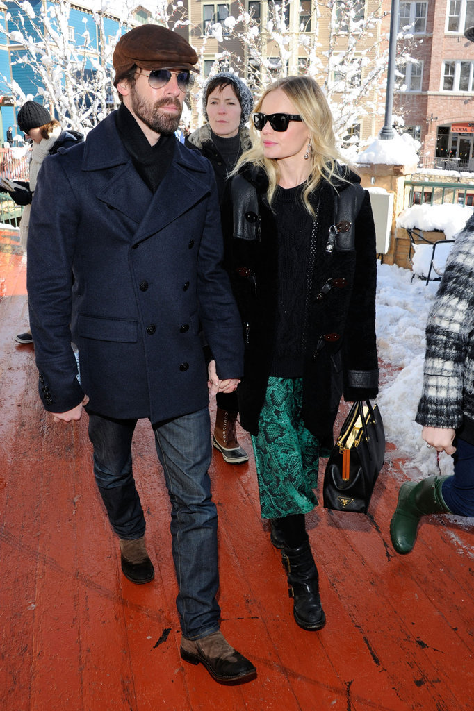 Kate Bosworth stepped out at the Sundance Film Festival in green snakeskin-printed silk pants. She paired the billowy silhouette with tough biker boots.