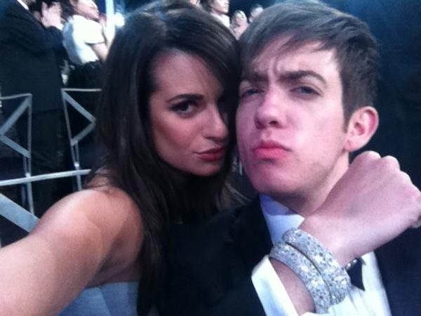 Kevin McHale borrowed some beautiful diamond bangles from his Glee costar (and SAG Awards seatmate) Lea Michele.