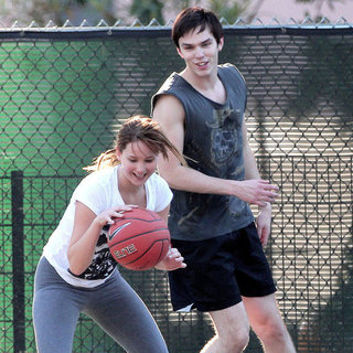 Jennifer Lawrence and Nicholas Hoult Playing Basketball