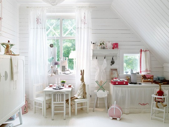 A Light, White Bedroom and Playroom