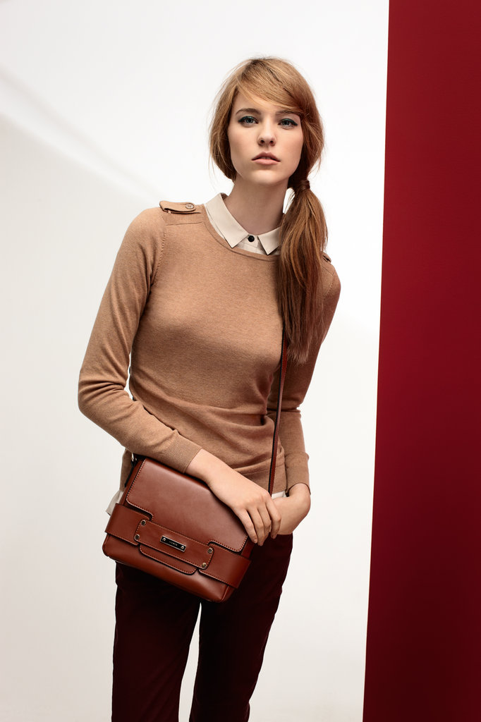 Tux Shirt $159, Crew Neck Knit $99, Twill Skinny Jeans $129 and Lily Cross Body Bag $169.