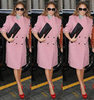 Jennifer Lopez Pink Coat NYC