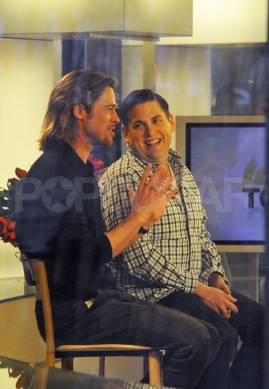 Brad Pitt and Jonah Hill joked around on a morning show appearance.