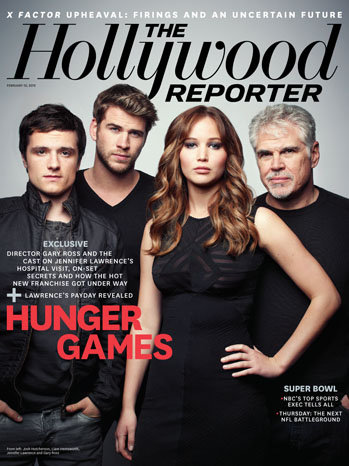 Josh Hutcherson, Liam Hemsworth, Jennifer Lawrence, and Gary Ross