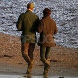Kate Middleton and Prince William hooked arms for a beachside walk.