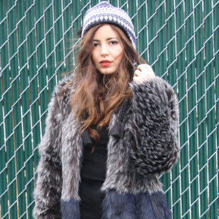 Fur Coat and Friendship Bracelets Street Style