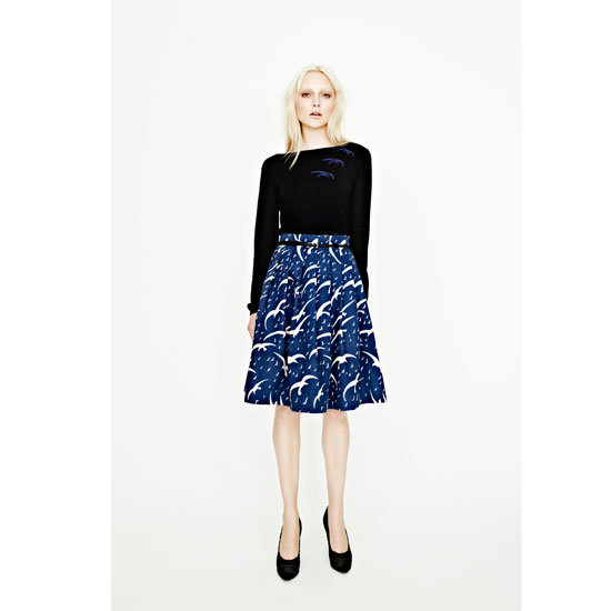 Dancing Birds Cotton Pleat Skirt, $179.