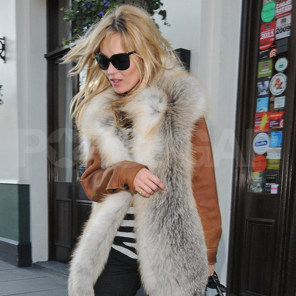 Kate Moss paired black skinny jeans with leather and fur.